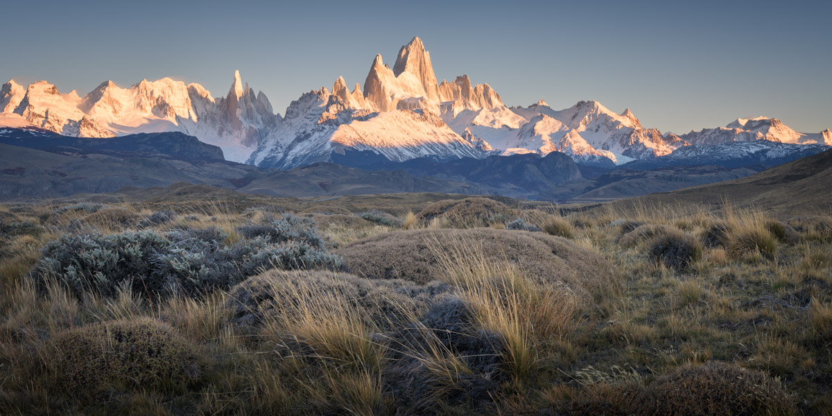 Panorama of Fitz Roy and Cerro Torre, Argentina