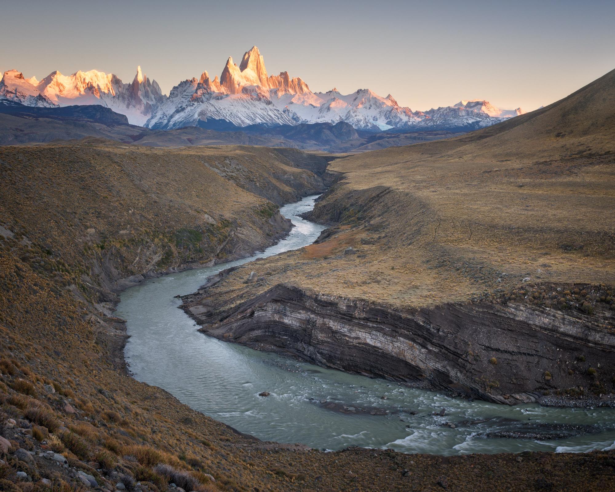 Rio De las Vueltas, Fitz Roy and Cerro Torre, Argentina