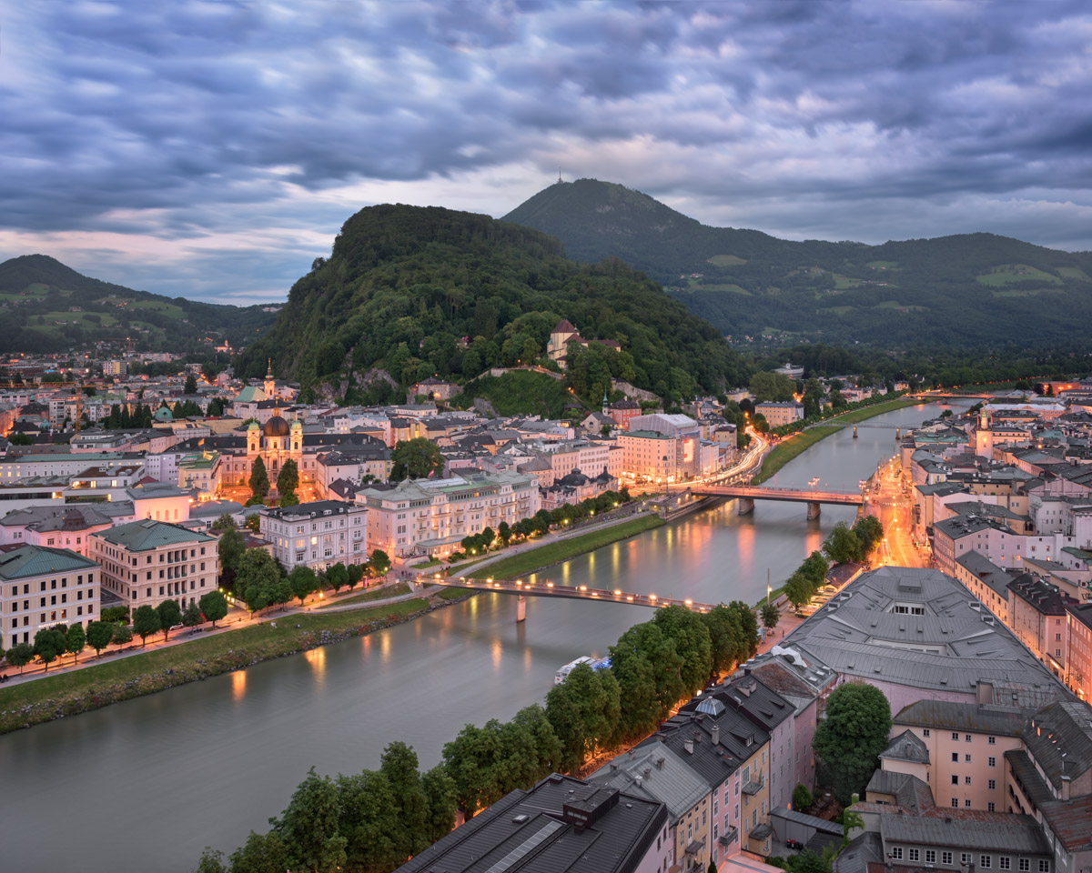 Aerial View of Salzburg and Salzach River, Austria