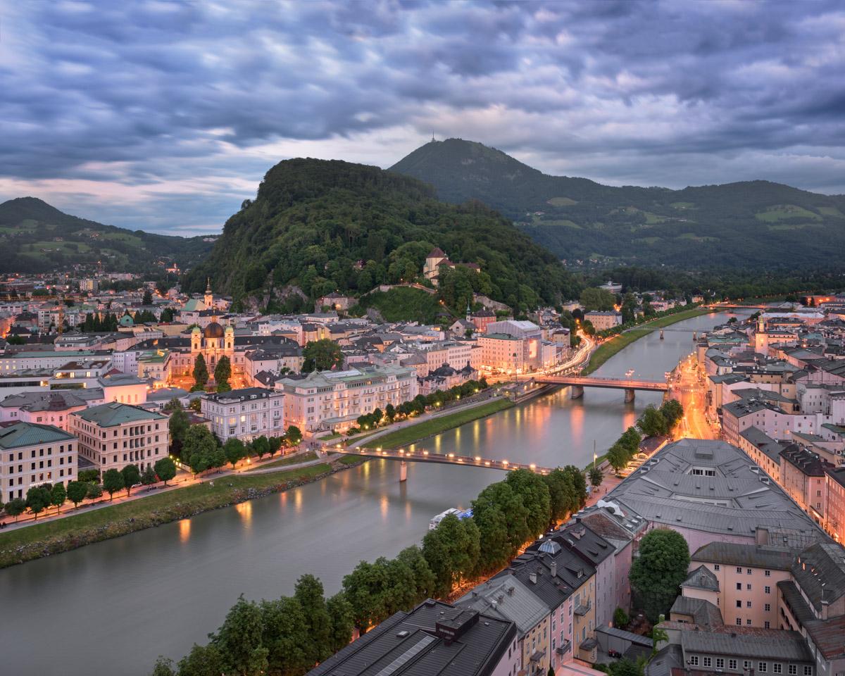 Aerial View of Salzburg and Salzach River, Austria