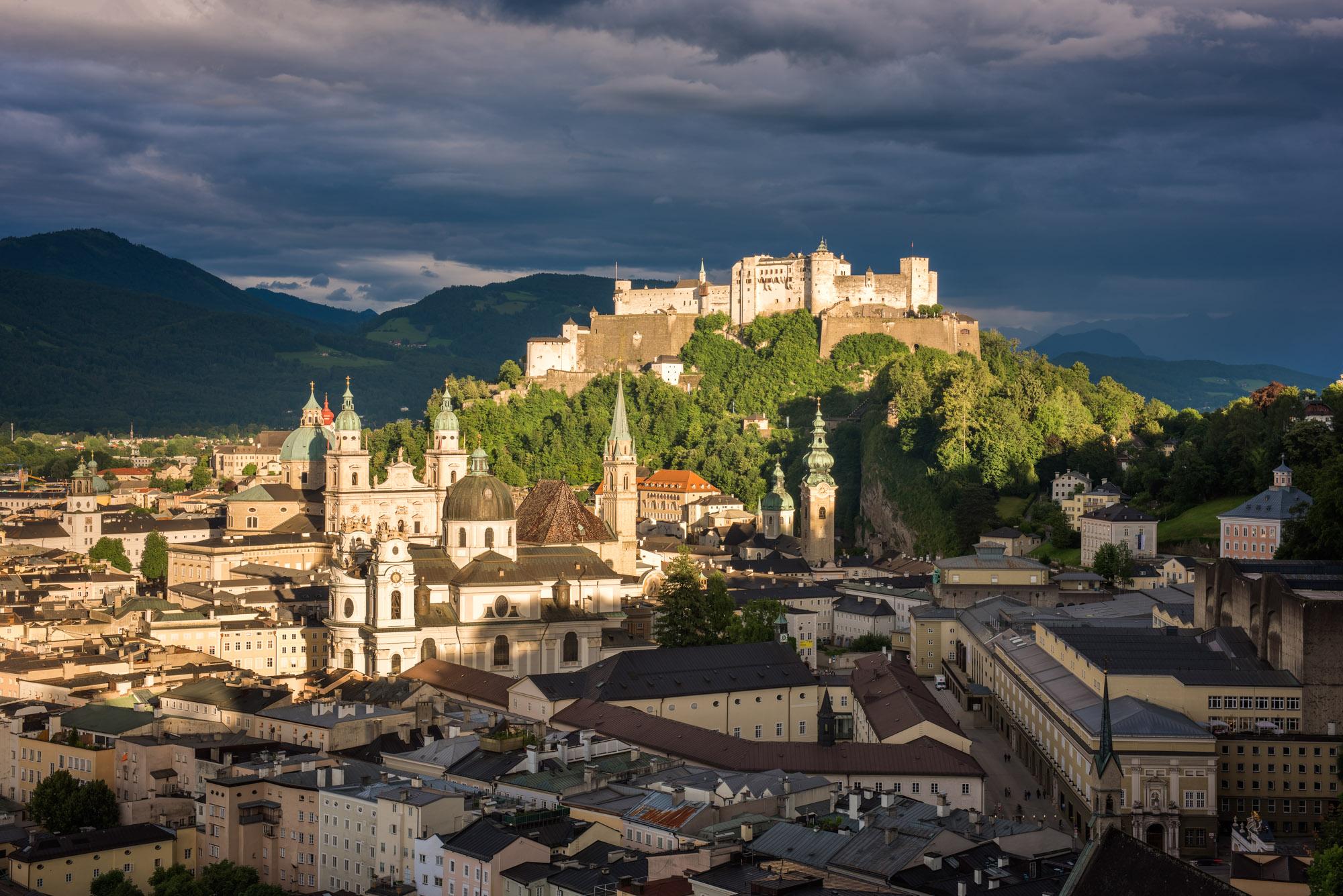 Aerial View of Salzburg Old Town, Austria
