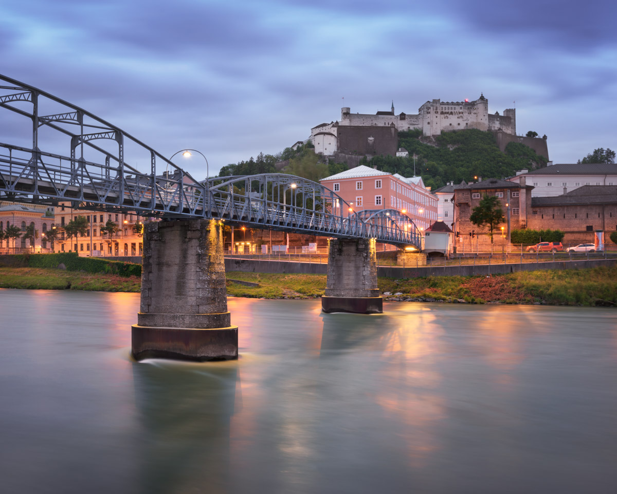 Mozart Bridge and Fortress Hohensalzburg, Salzburg, Austria