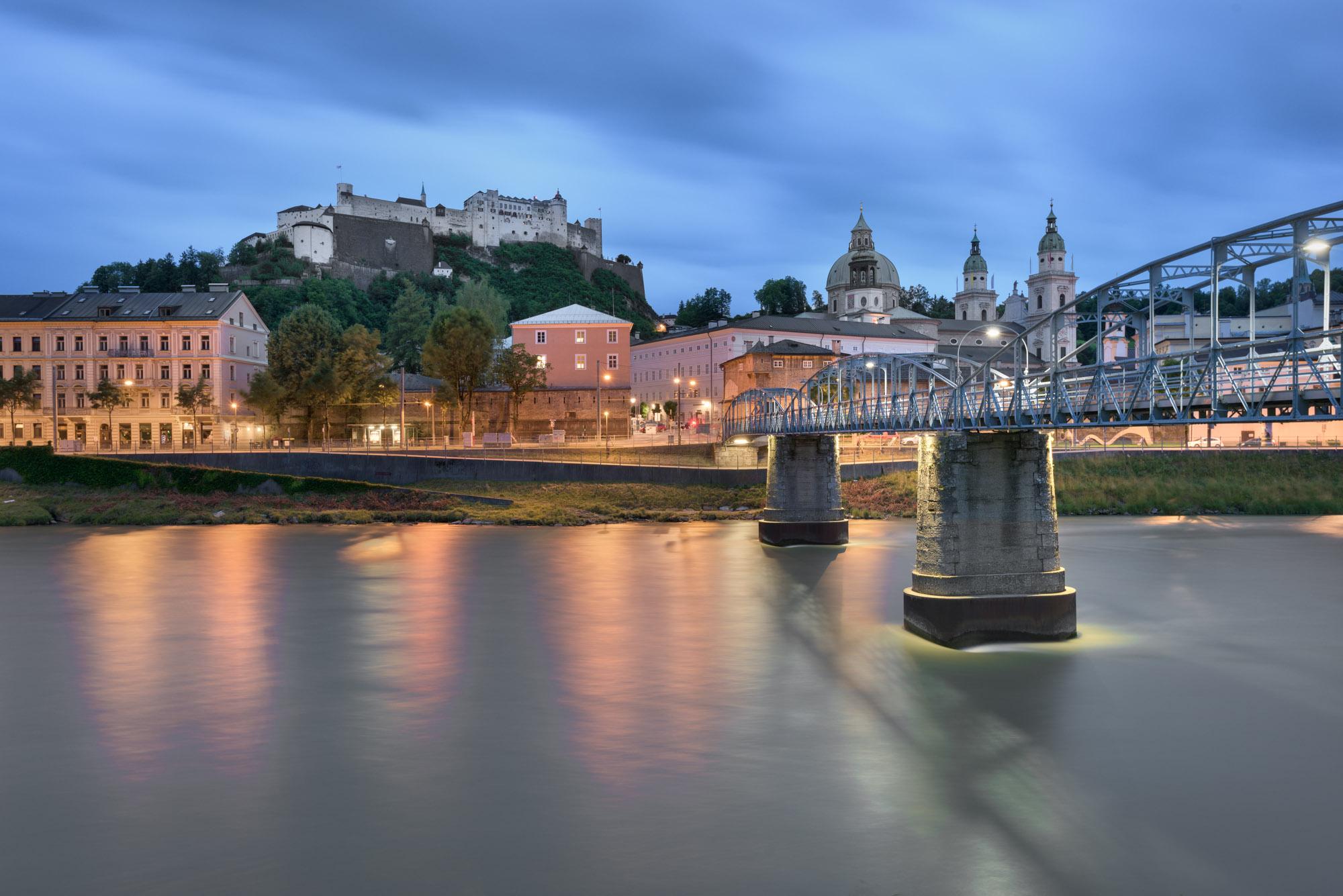 Mozart Bridge in the Morning, Salzburg, Austria