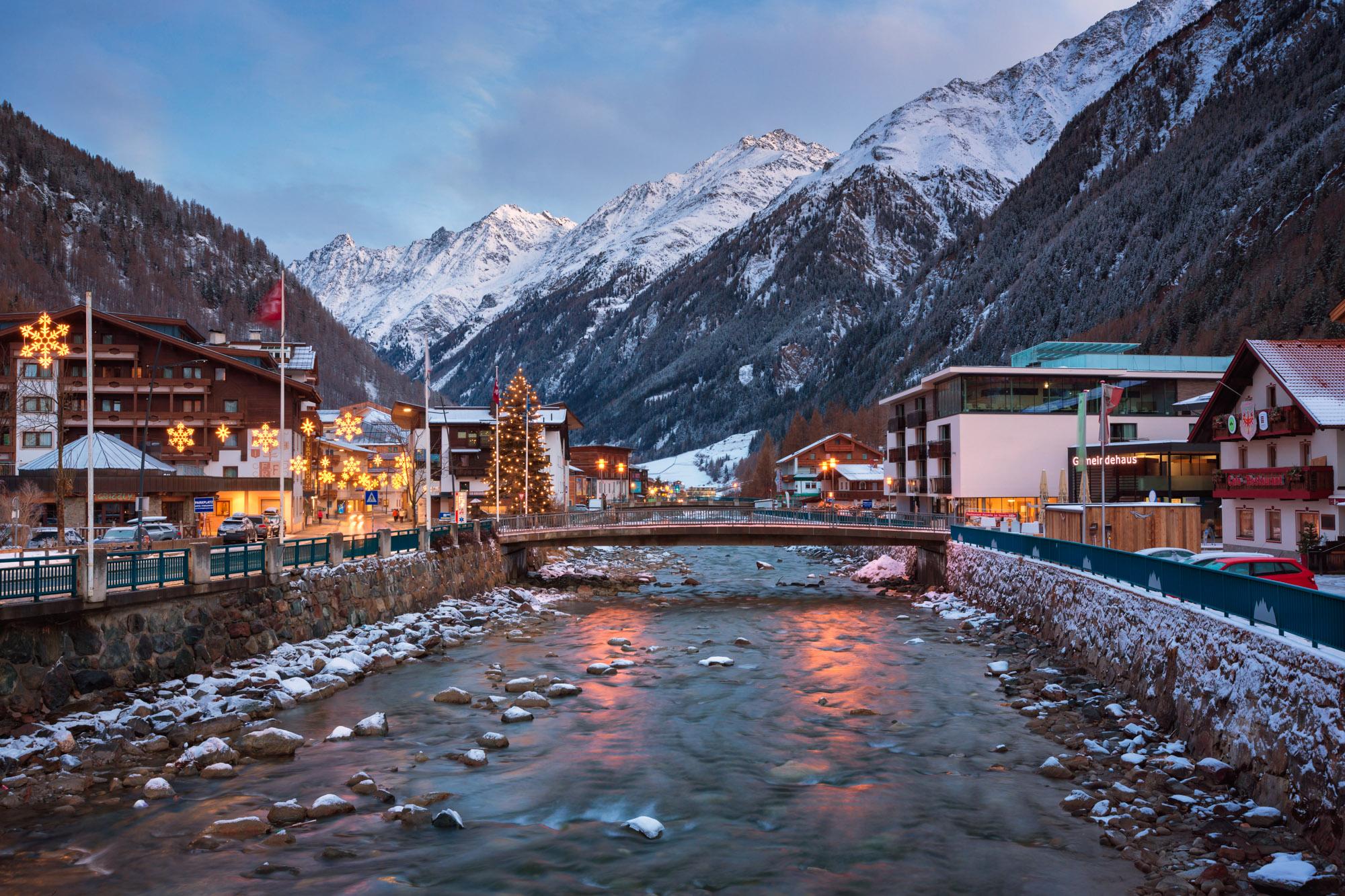 Soelden Ski Resort in the Morning, Austria