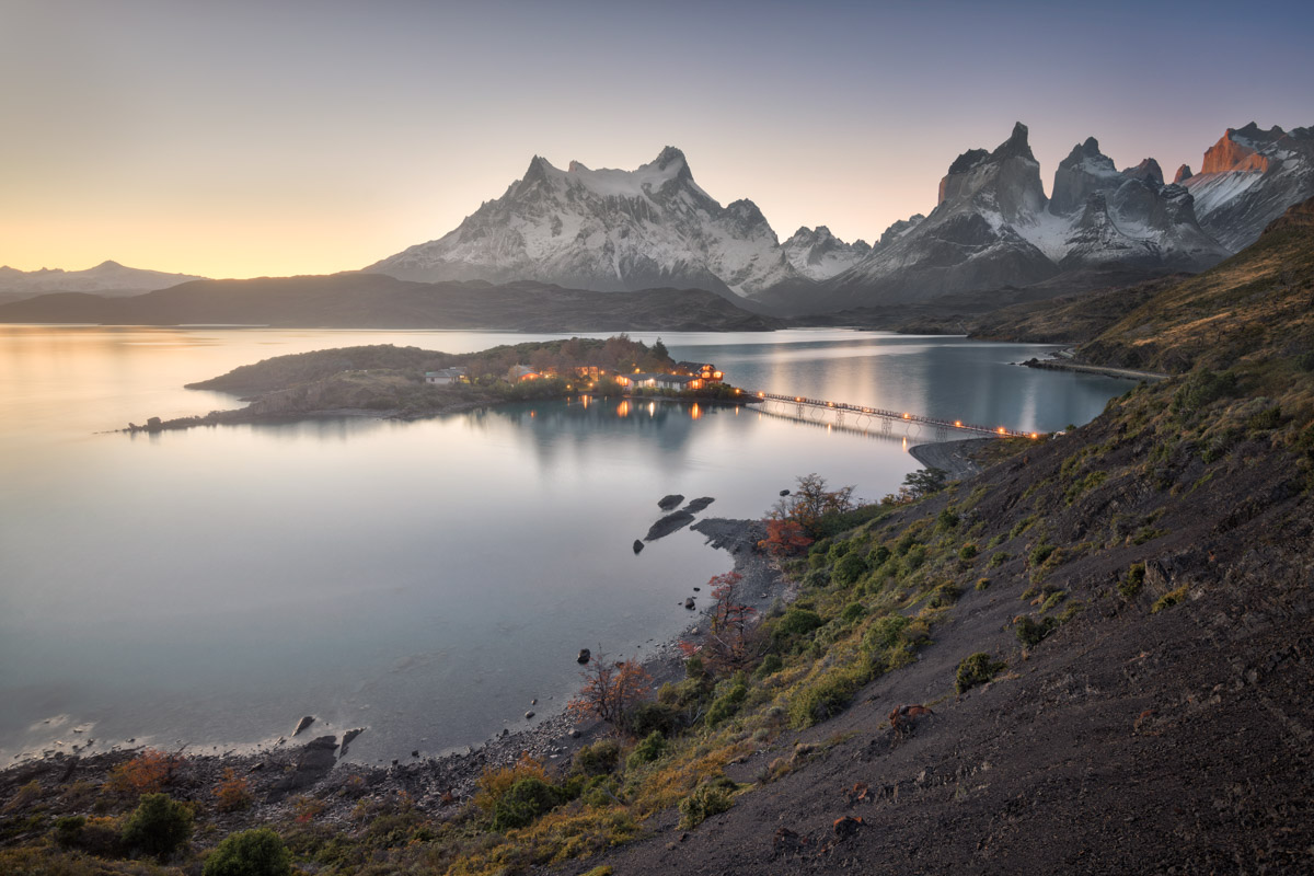 Pehoe Lake and Cuernos Peaks in the Evening, Chile