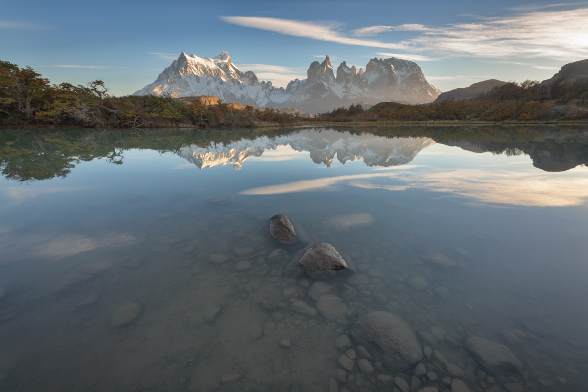 Pehoe Lake and Cuernos Peaks in the Morning, Chile