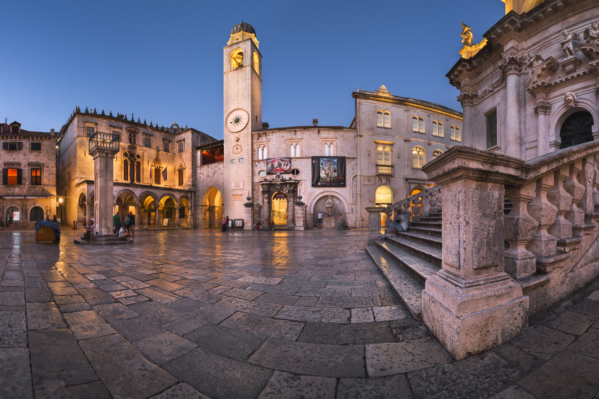 Luza Square and Orlando Column in Dubrovnik, Croatia