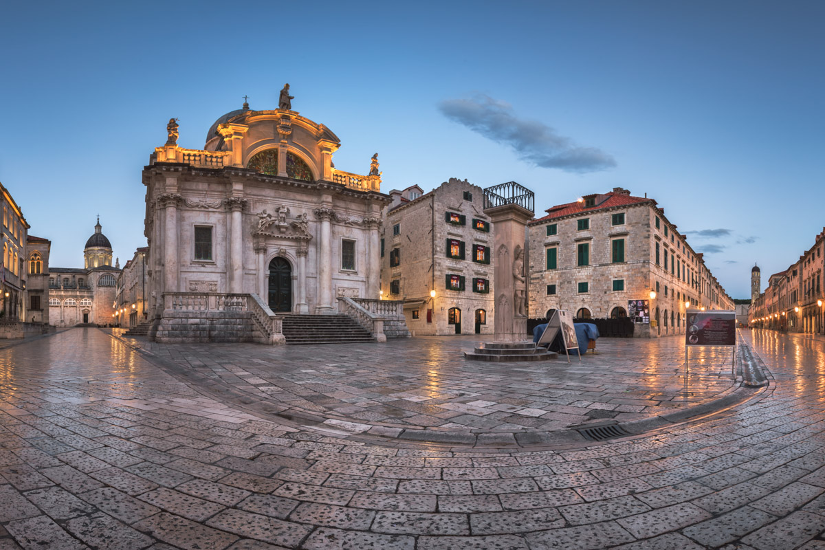 Luza Square and Saint Blaise Church in Dubrovnik, Croatia