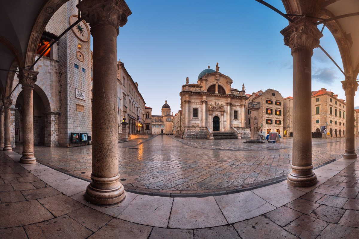 Luza Square, Saint Blaise Church in Dubrovnik, Croatia