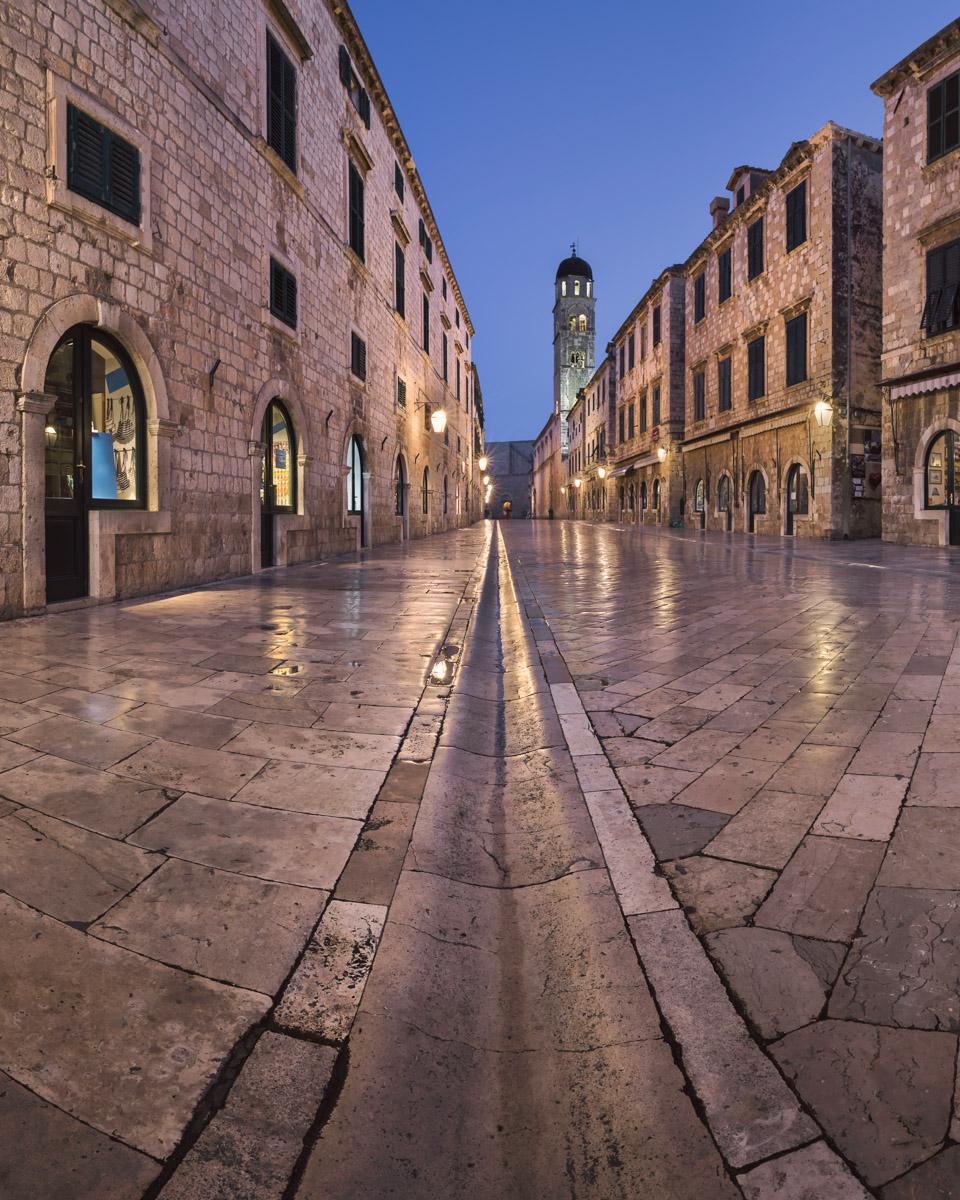 Panorama of Stradun Street and Holy Saviour Church, Dubrovnik