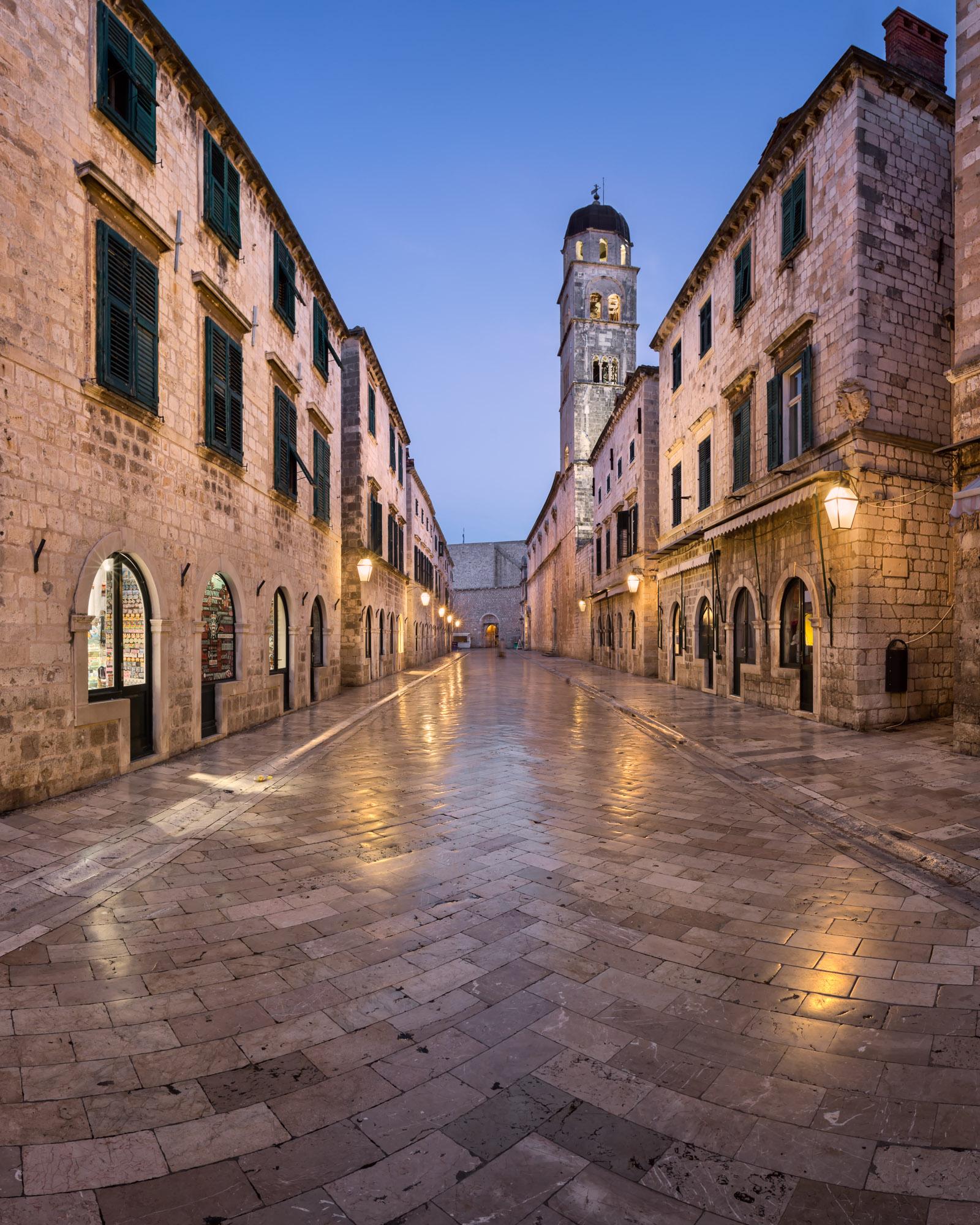 Stradun Street and Holy Saviour Church, Dubrovnik, Croatia