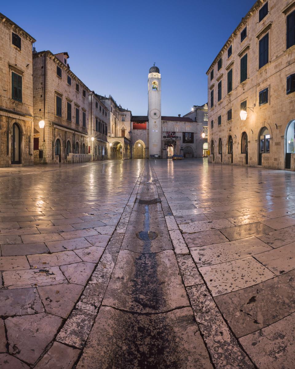 Stradun Street and Luza Square in Dubrovnik, Croatia