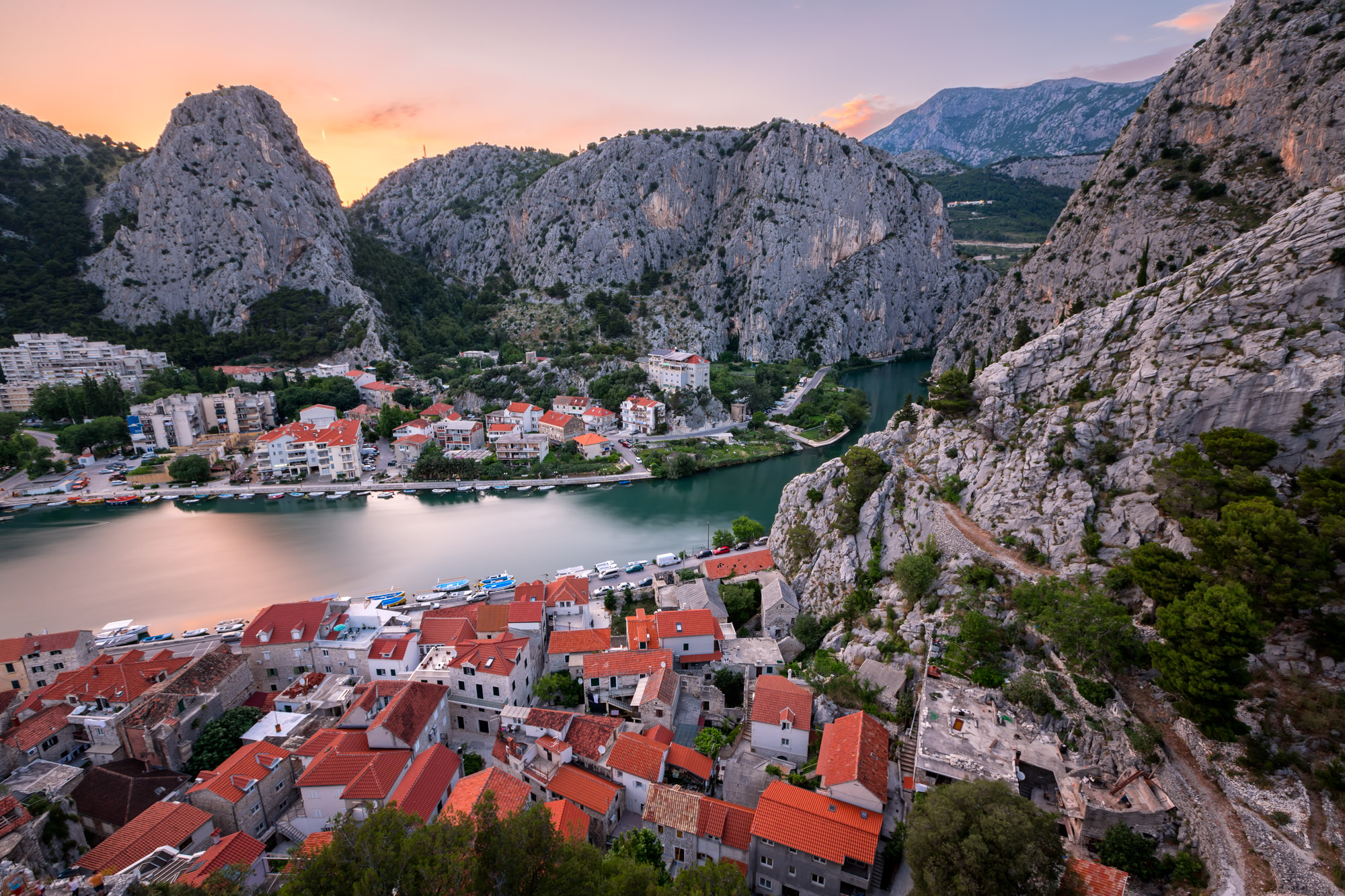Aerial View of Omis and Cetina River Gorge, Croatia