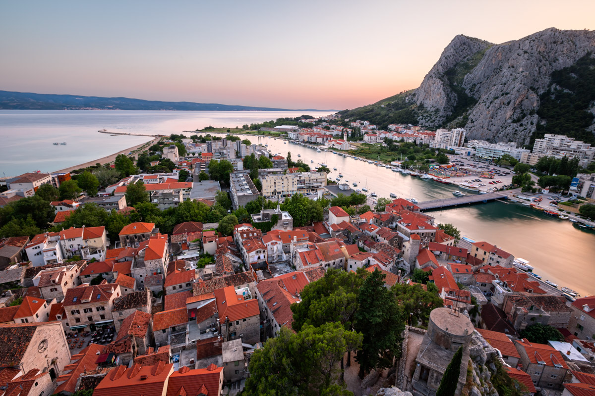 Aerial View of Omis Old Town and Cetina River, Croatia