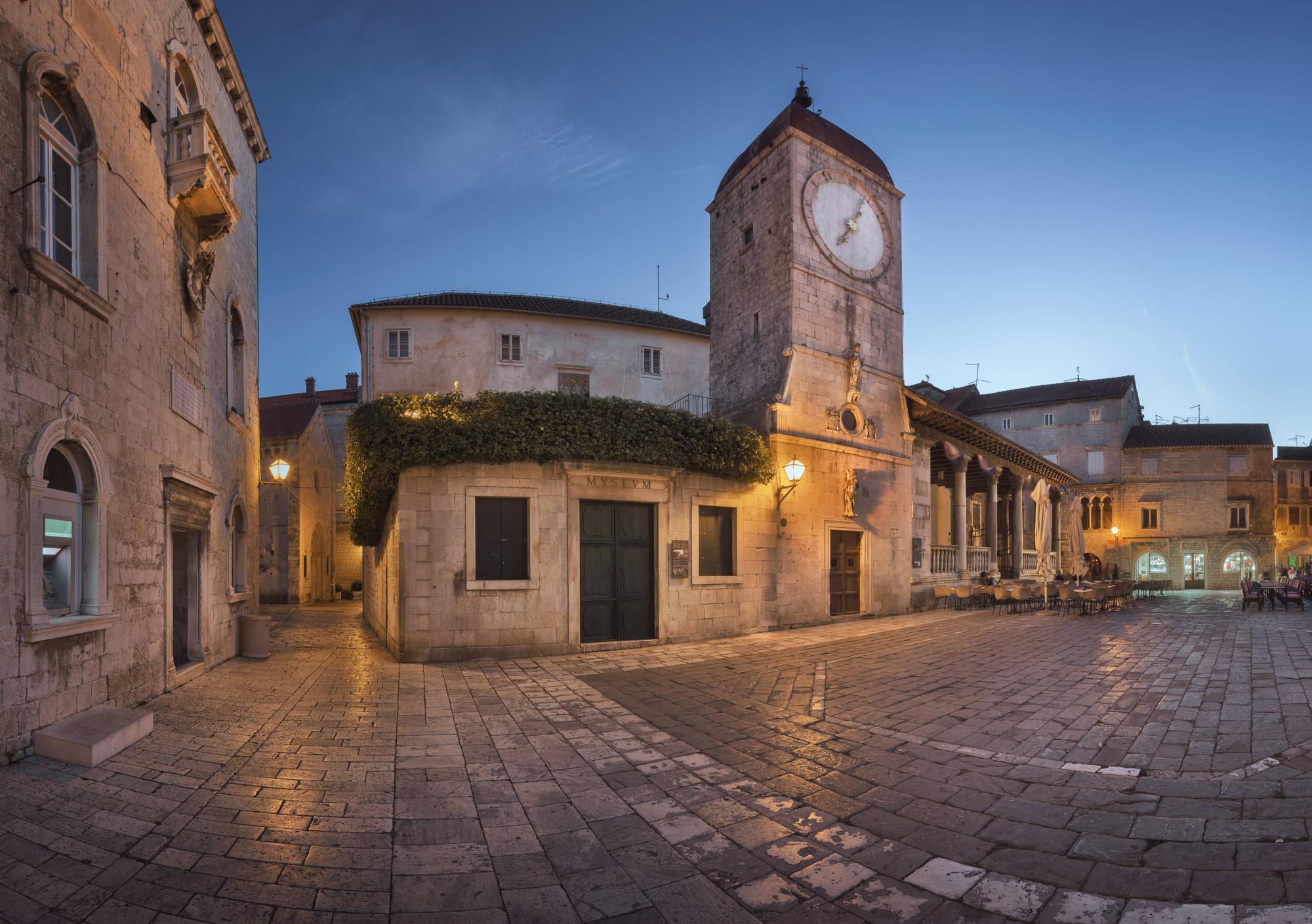 Trg Ivana Pavla II in the Evening, Trogir, Croatia