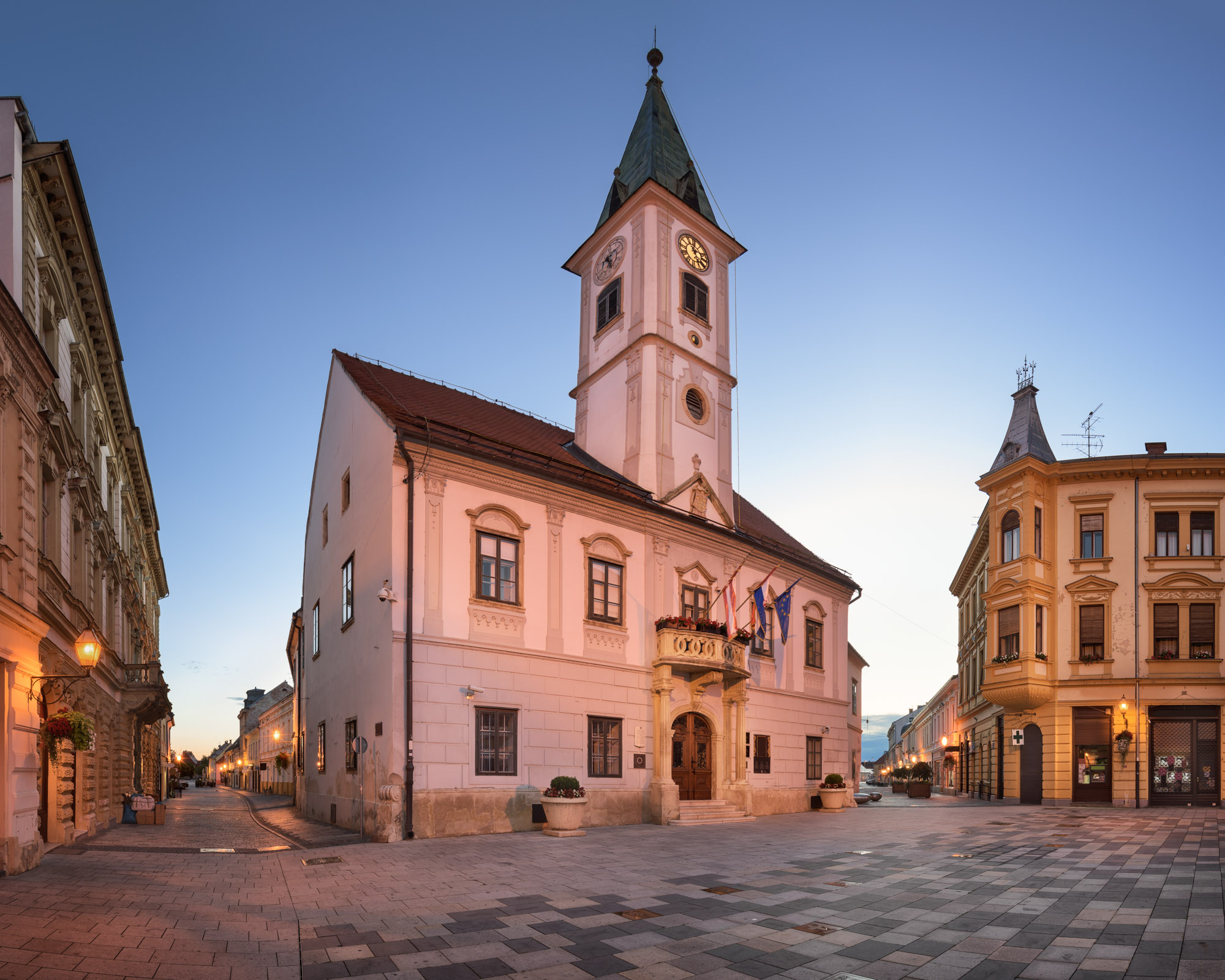 Varazdin Townhall and Trg Kralja Tomislava, Varazdin, Croatia
