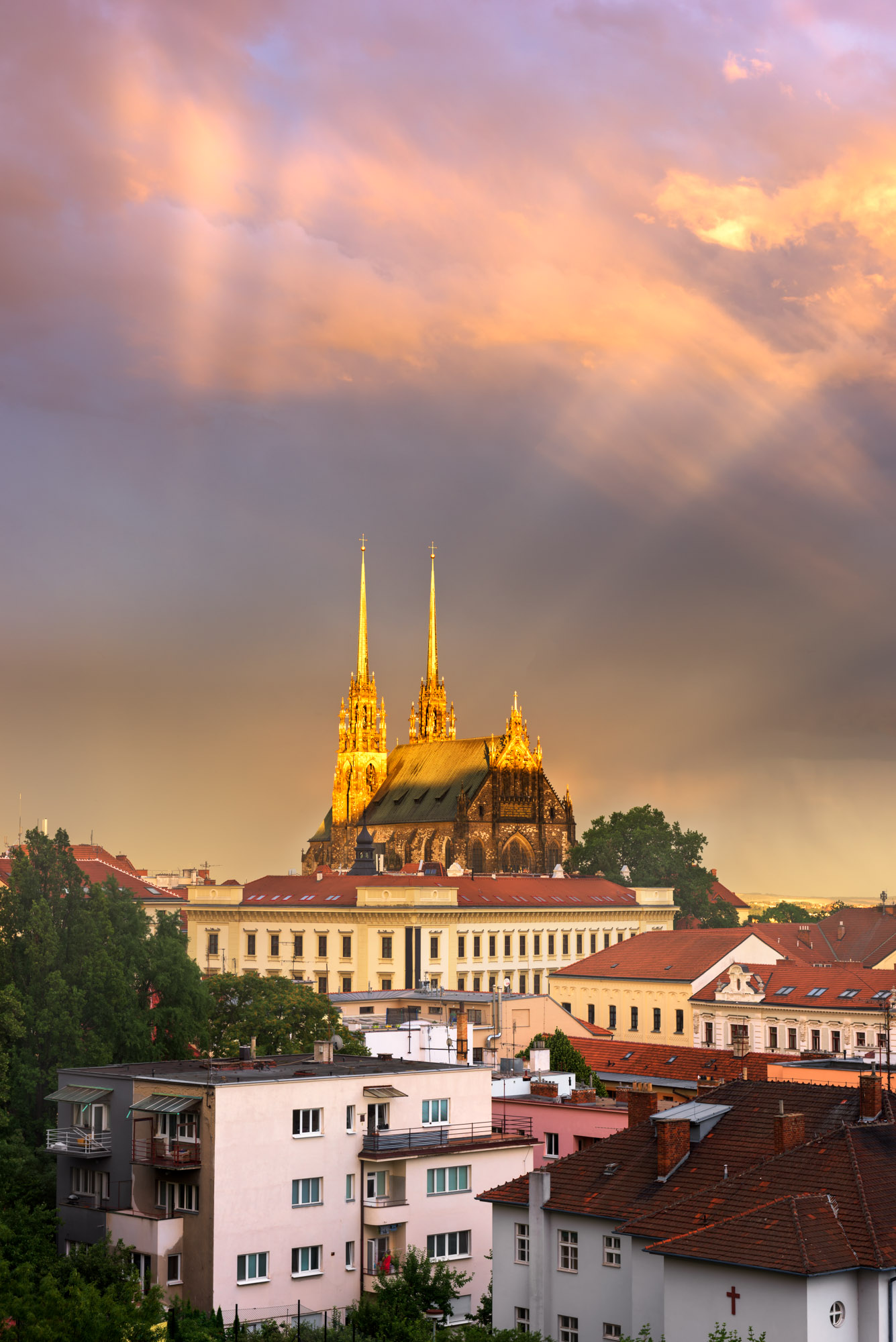 Cathedral of Saints Peter and Paul at Sunset, Brno