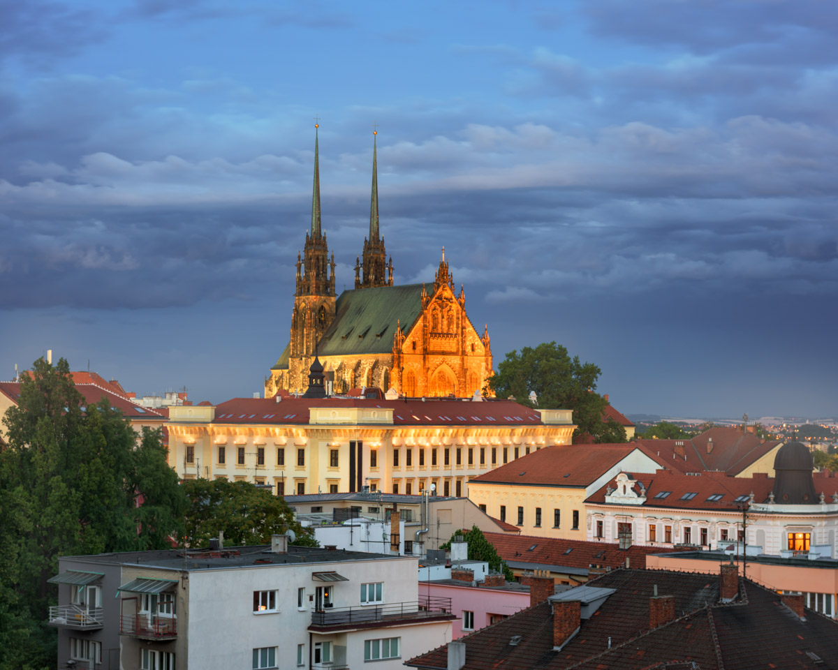 Cathedral of Saints Peter and Paul in the Evening, Brno