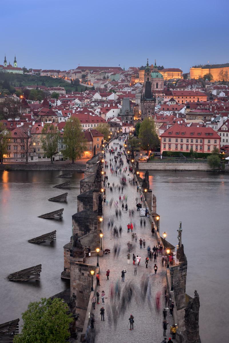 Aerial View of Charles Bridge, Prague, Czech Republic