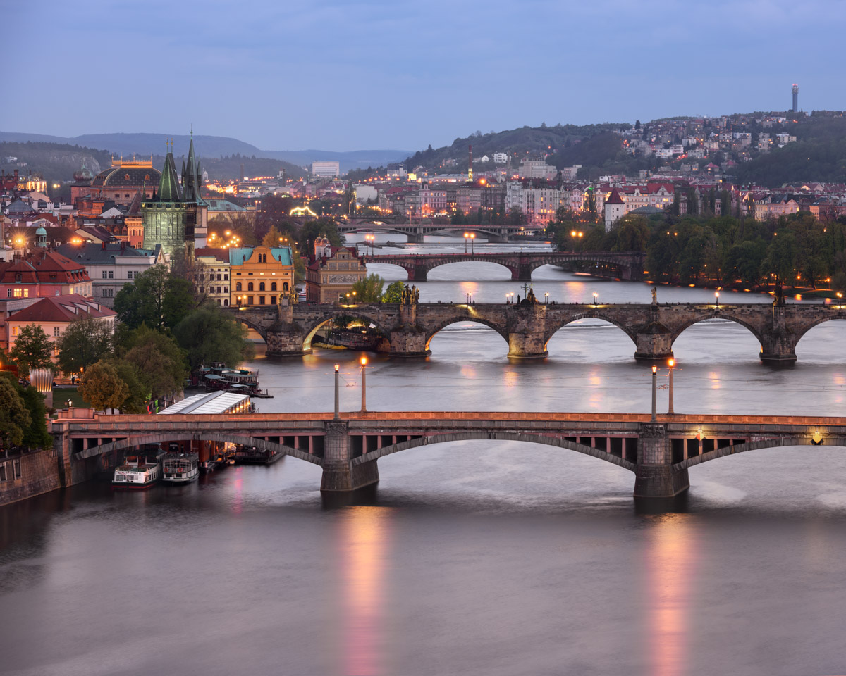Aerial View of Vltava River and its Bridges, Prague