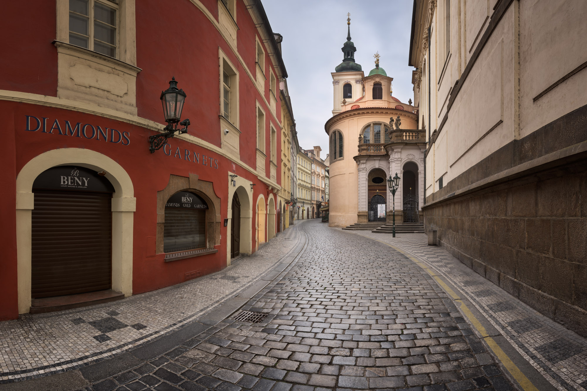 Karlova Street and Church of Assumption of Mary, Prague
