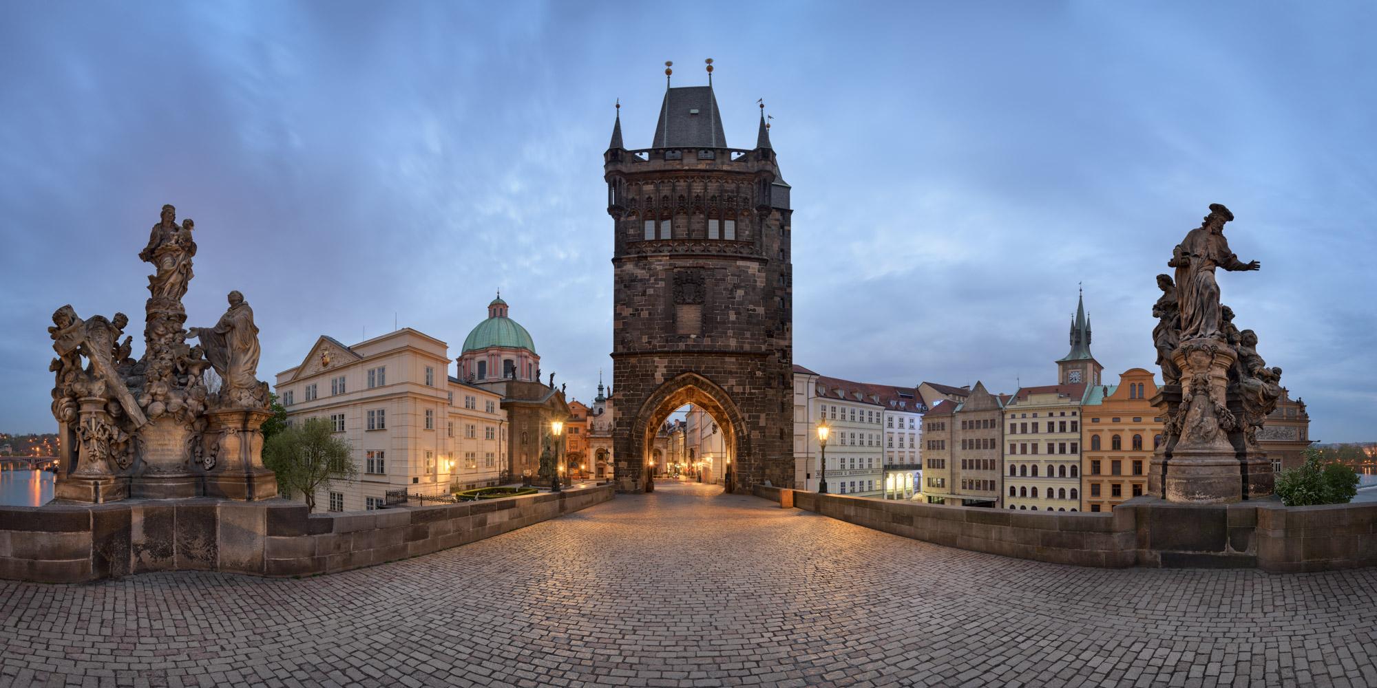 Panorama of Charles Bridge, Prague, Czech Republic