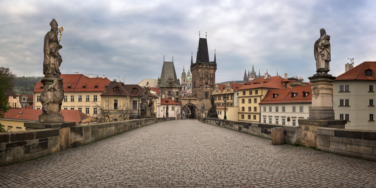 Panorama of Lesser Tower and Charles Bridge, Prague