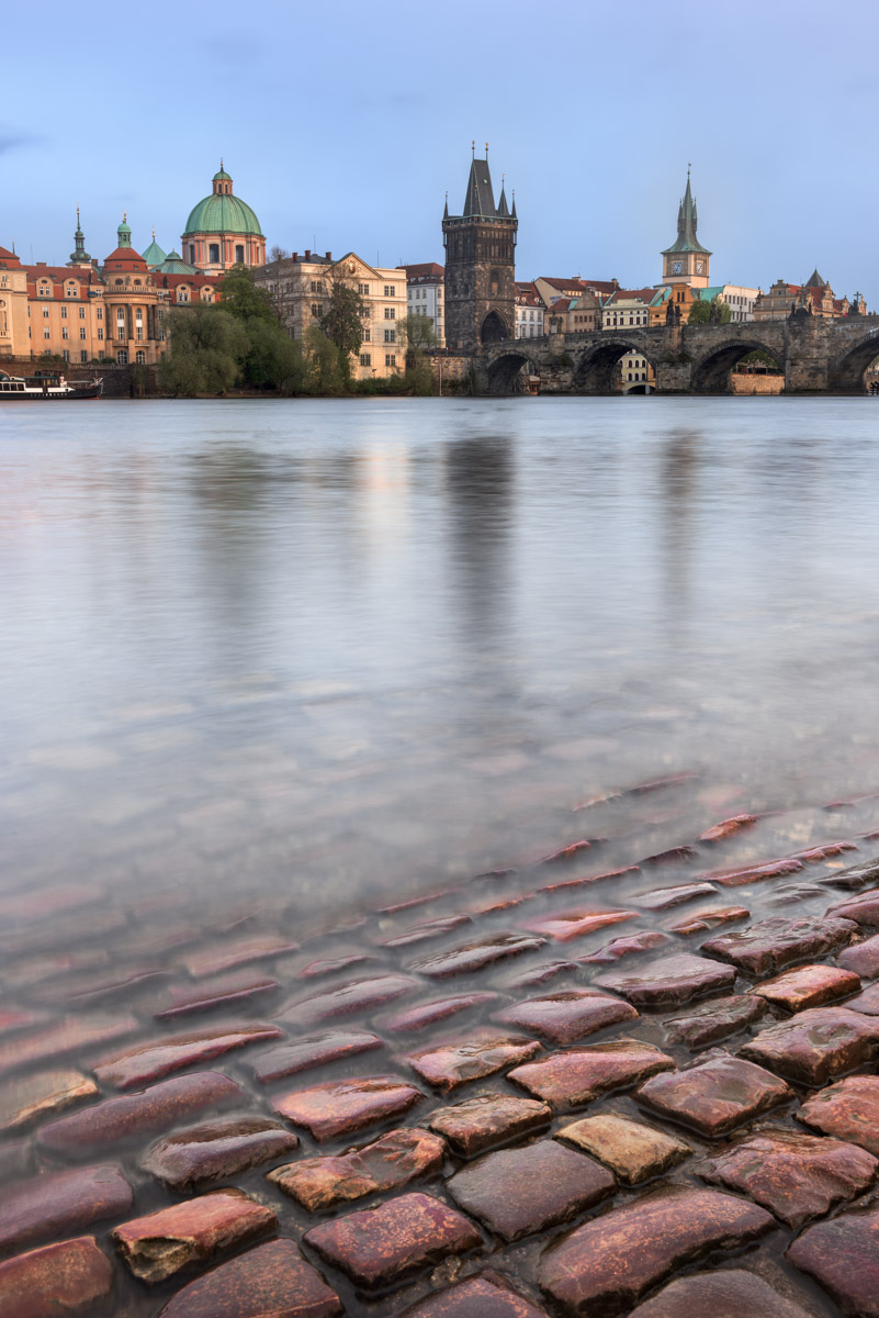 Vltava River and Charles Bridge, Prague, Czech Republic