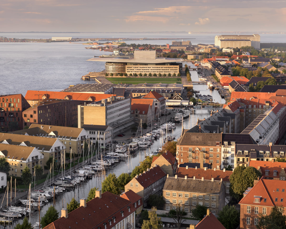 Aerial View of Copenhagen in the Evening, Denmark