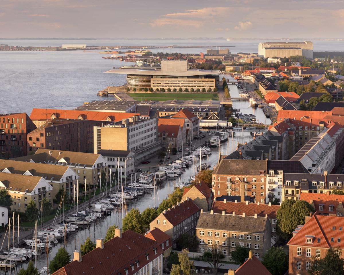 Aerial View of Copenhagen in the Evening, Denmark