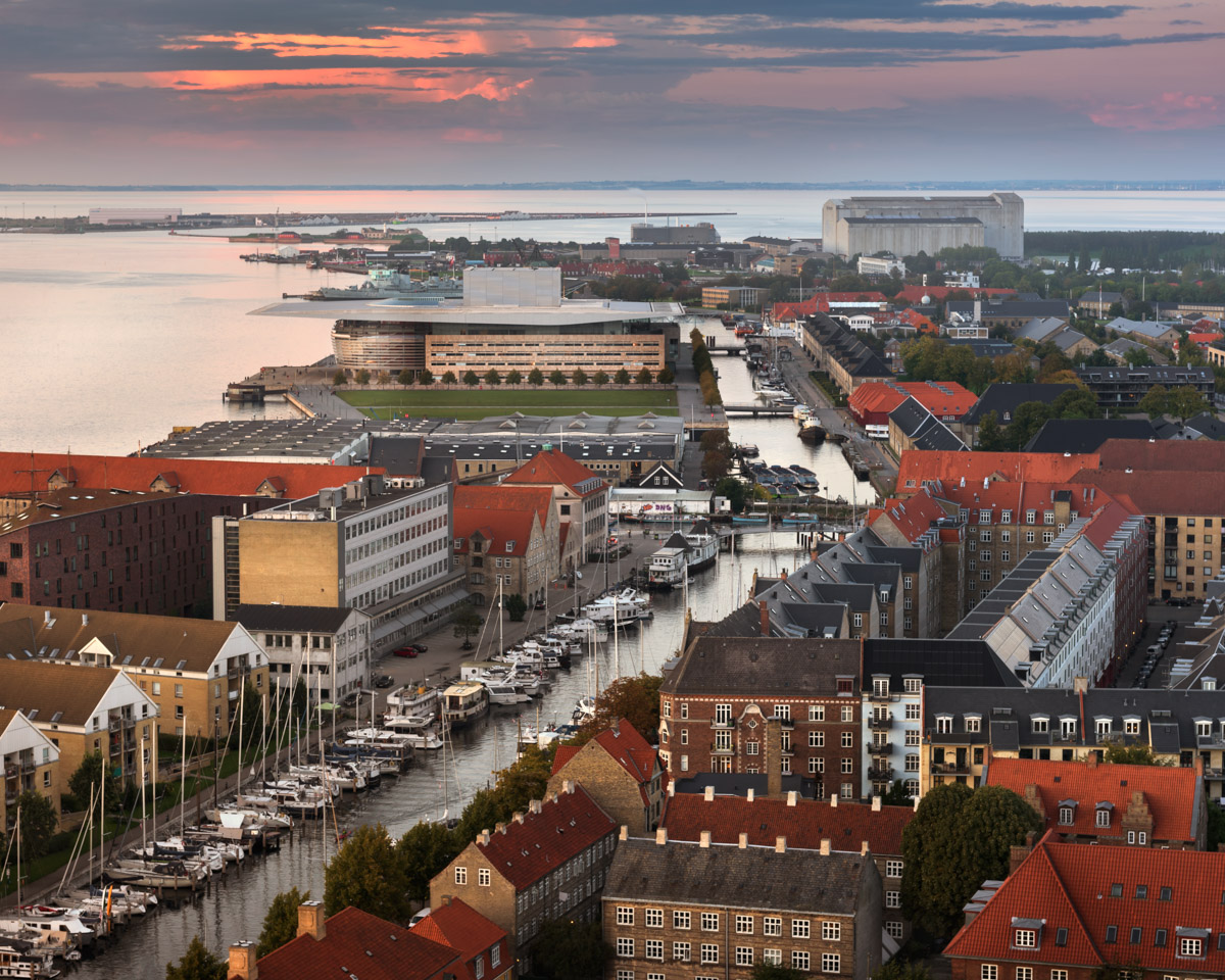 Aerial View of Copenhagen Skyline, Denmark