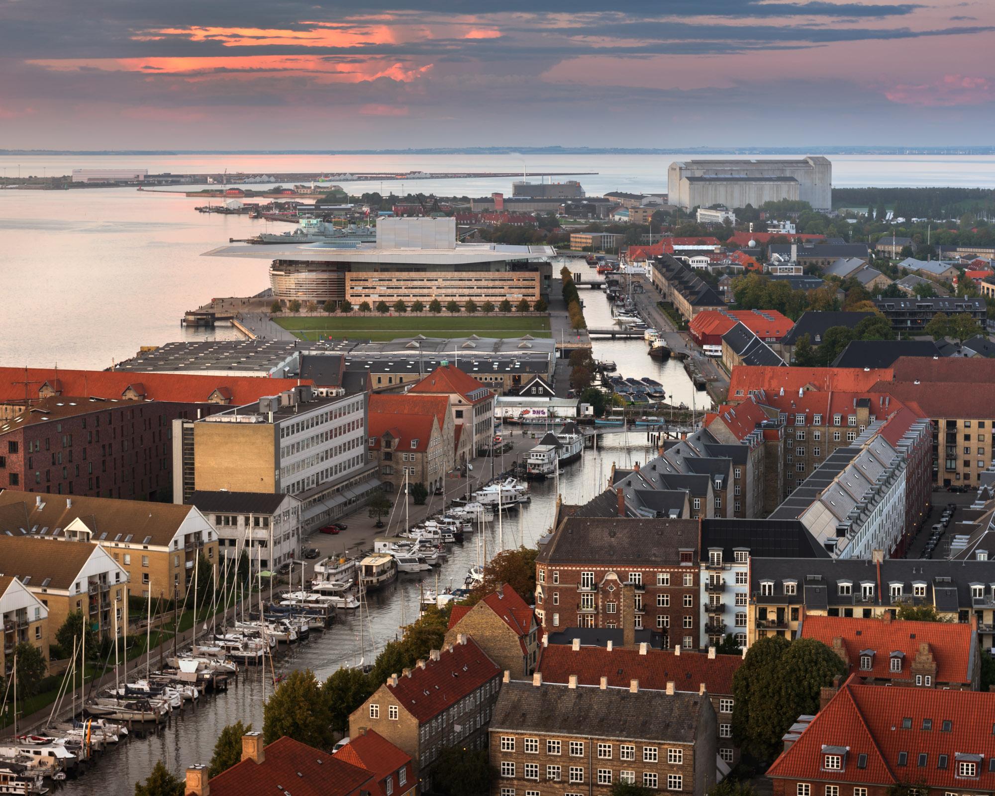 Aerial View of Copenhagen Skyline, Denmark