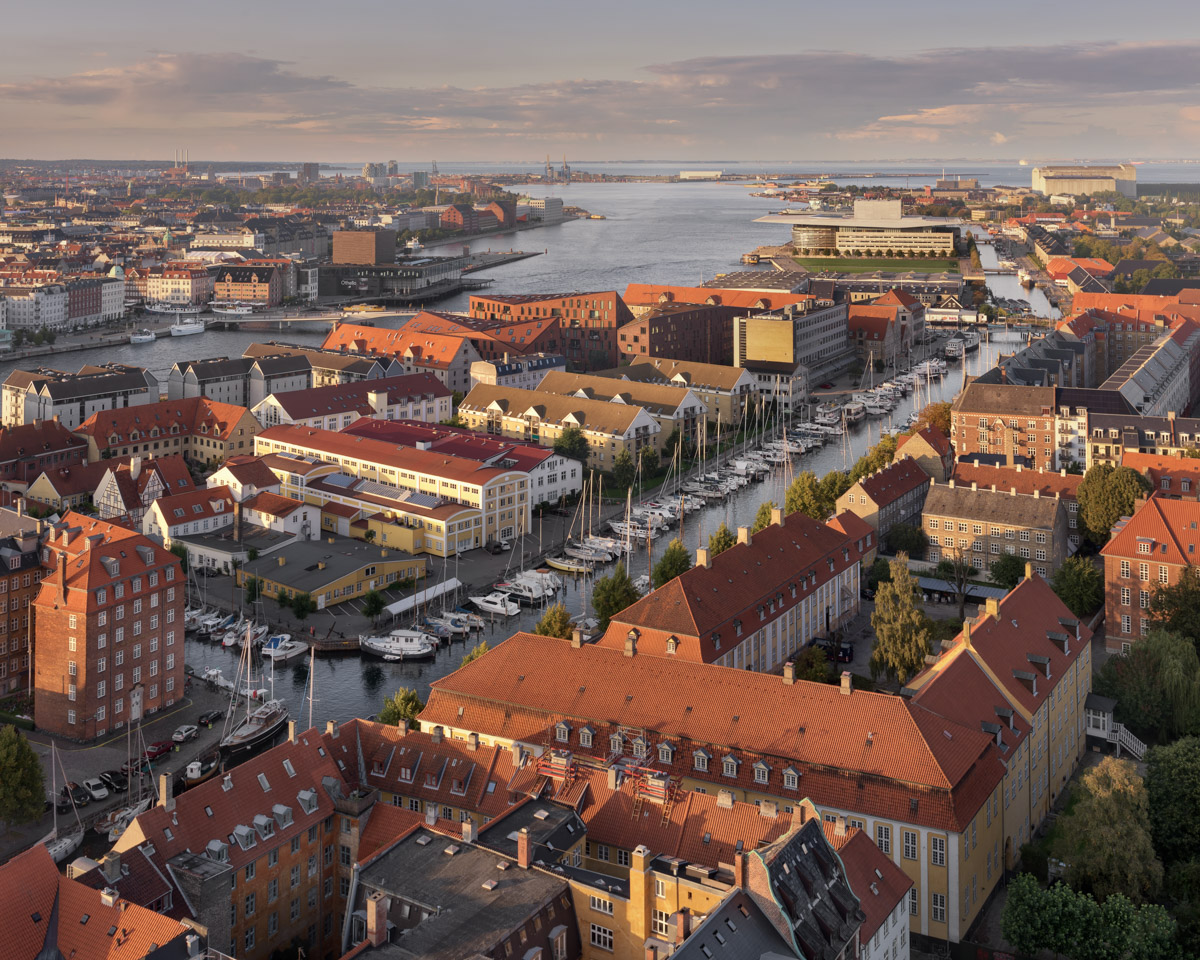 Aerial View of Roofs and Canals of Copenhagen, Denmark