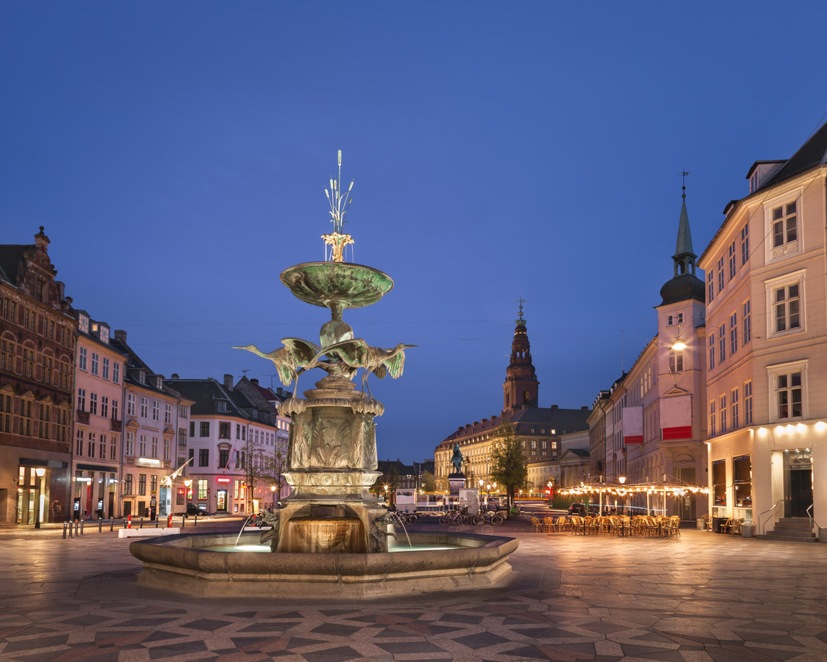 Amagertorv Square and Stork Fountain in the Old Town, Copenhagen