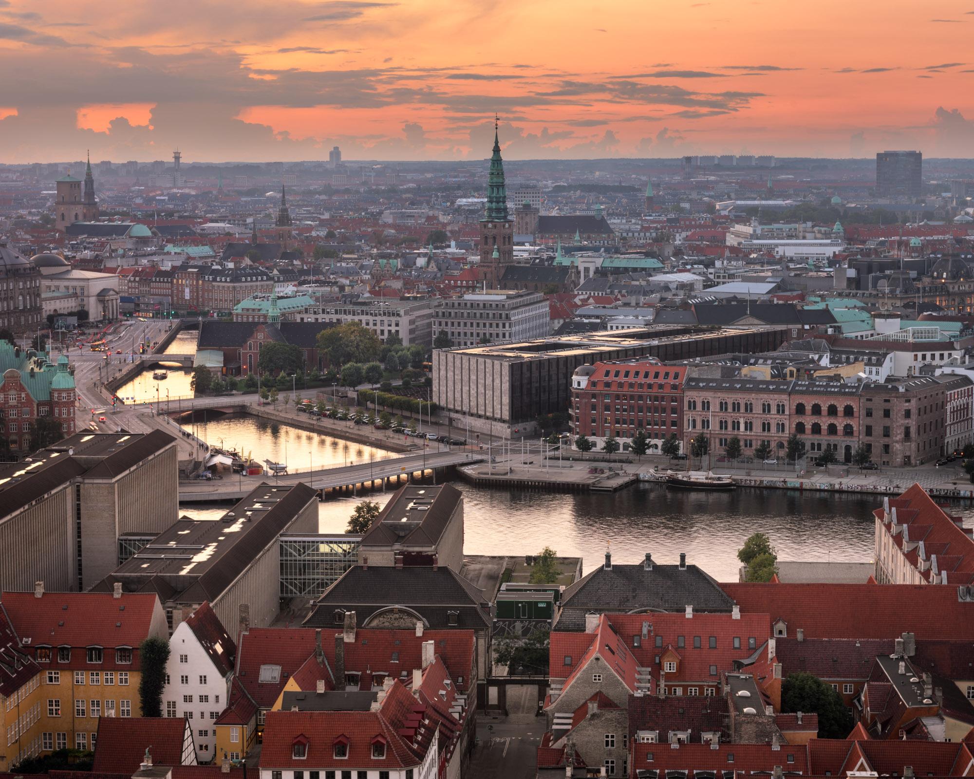 Copenhagen Skyline in the Evening, Denmark