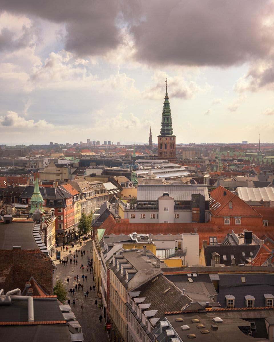 Kobmagergade Street and Copenhagen Skyline, Denmark