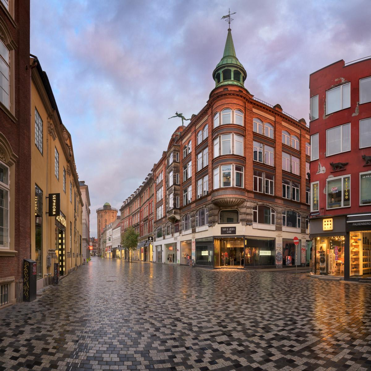 Kobmagergade Street and Round Tower, Copenhagen, Denmark