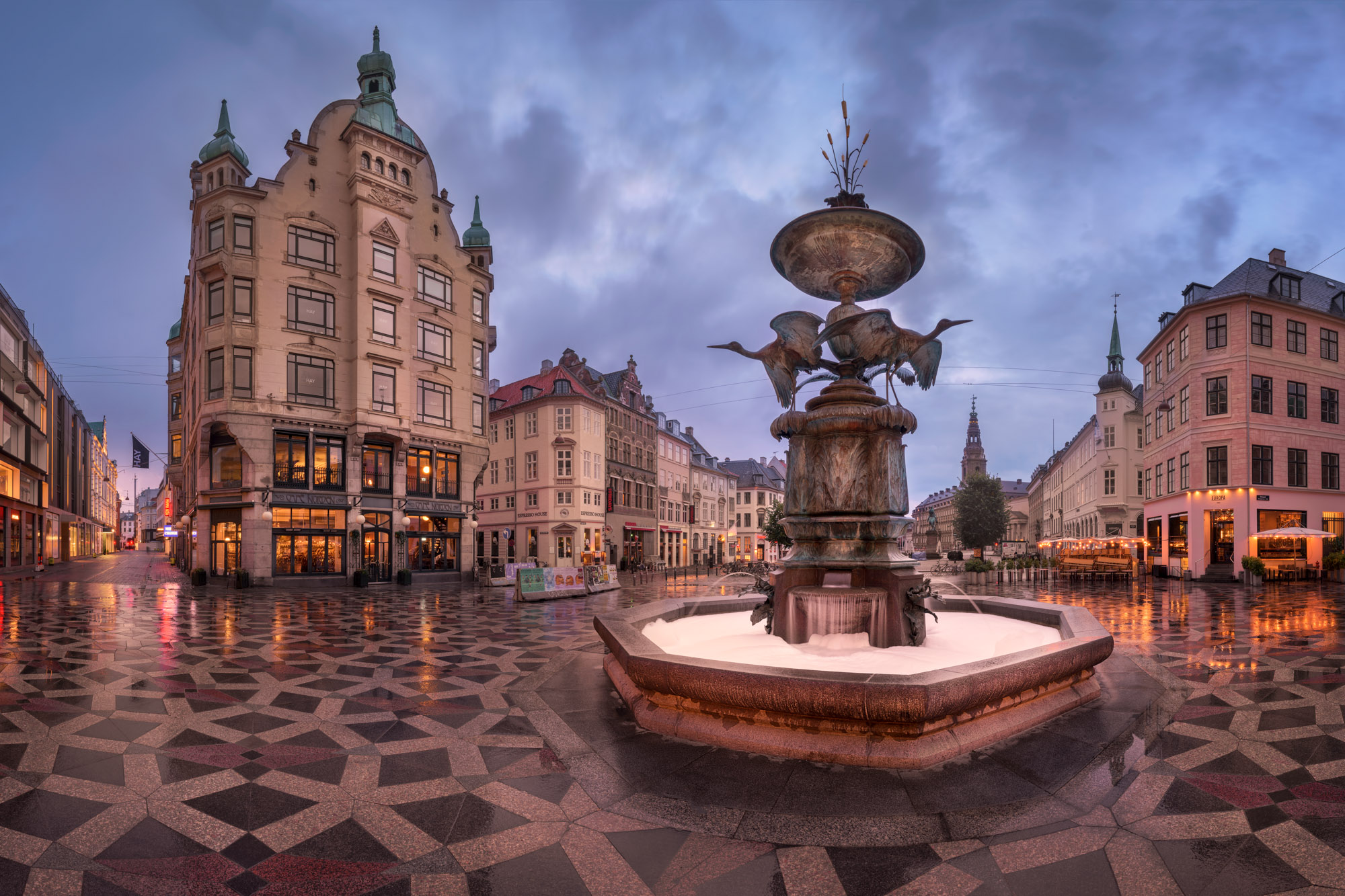 Panorama of Amagertorv Square and Stork Fountain, Copenhagen