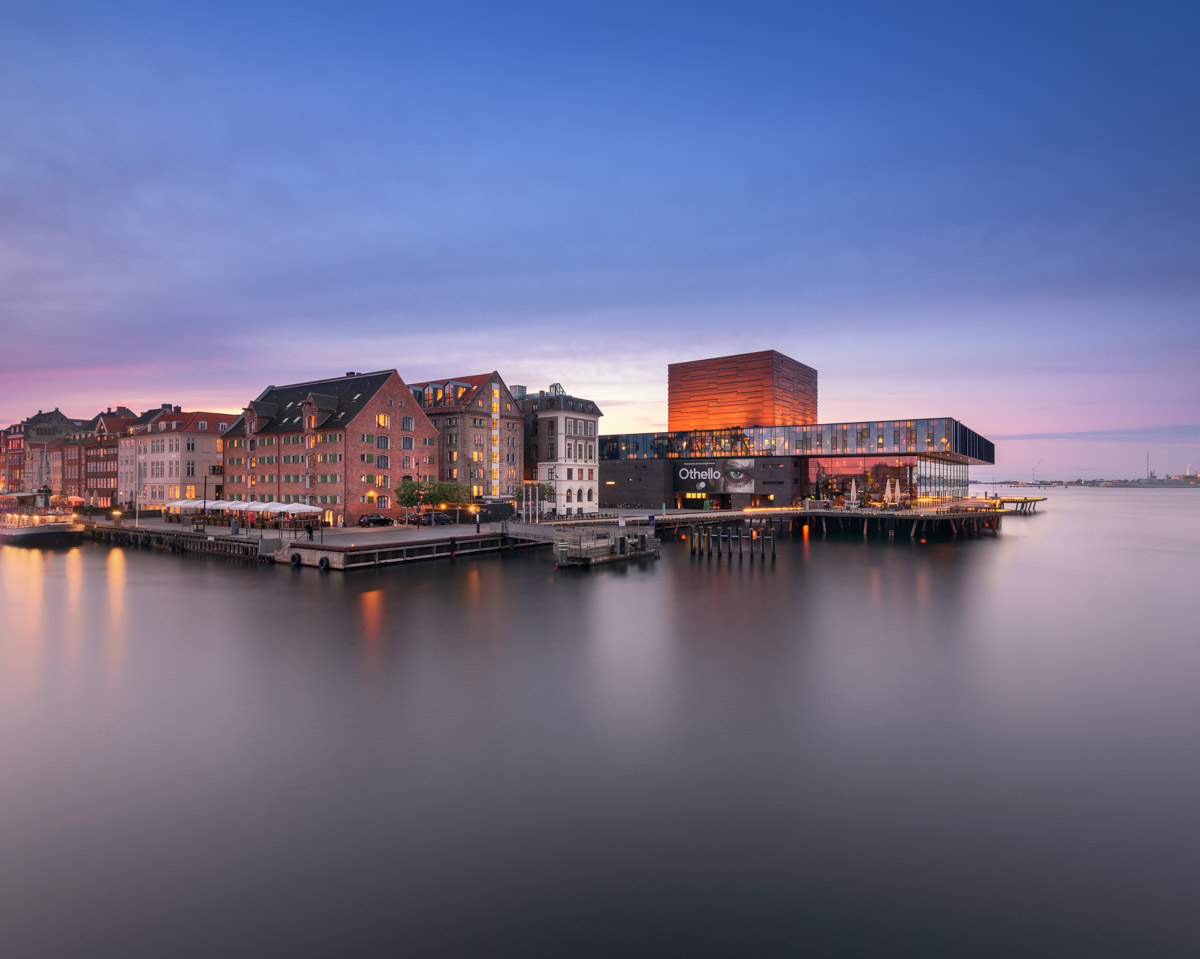 Performing Arts Theater in the Evening, Copenhagen, Denmark