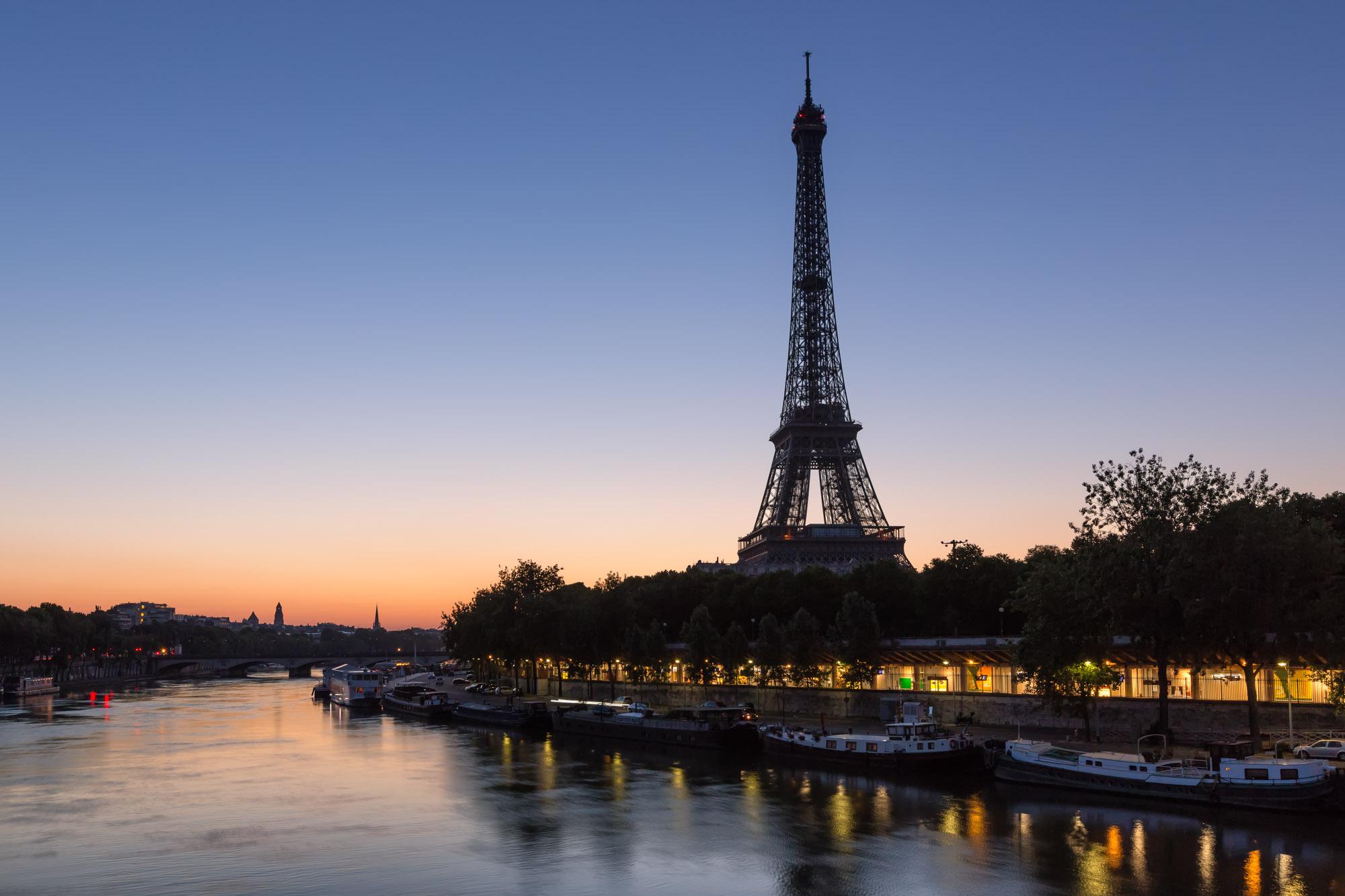 Eiffel Tower and Seine River, Paris, France