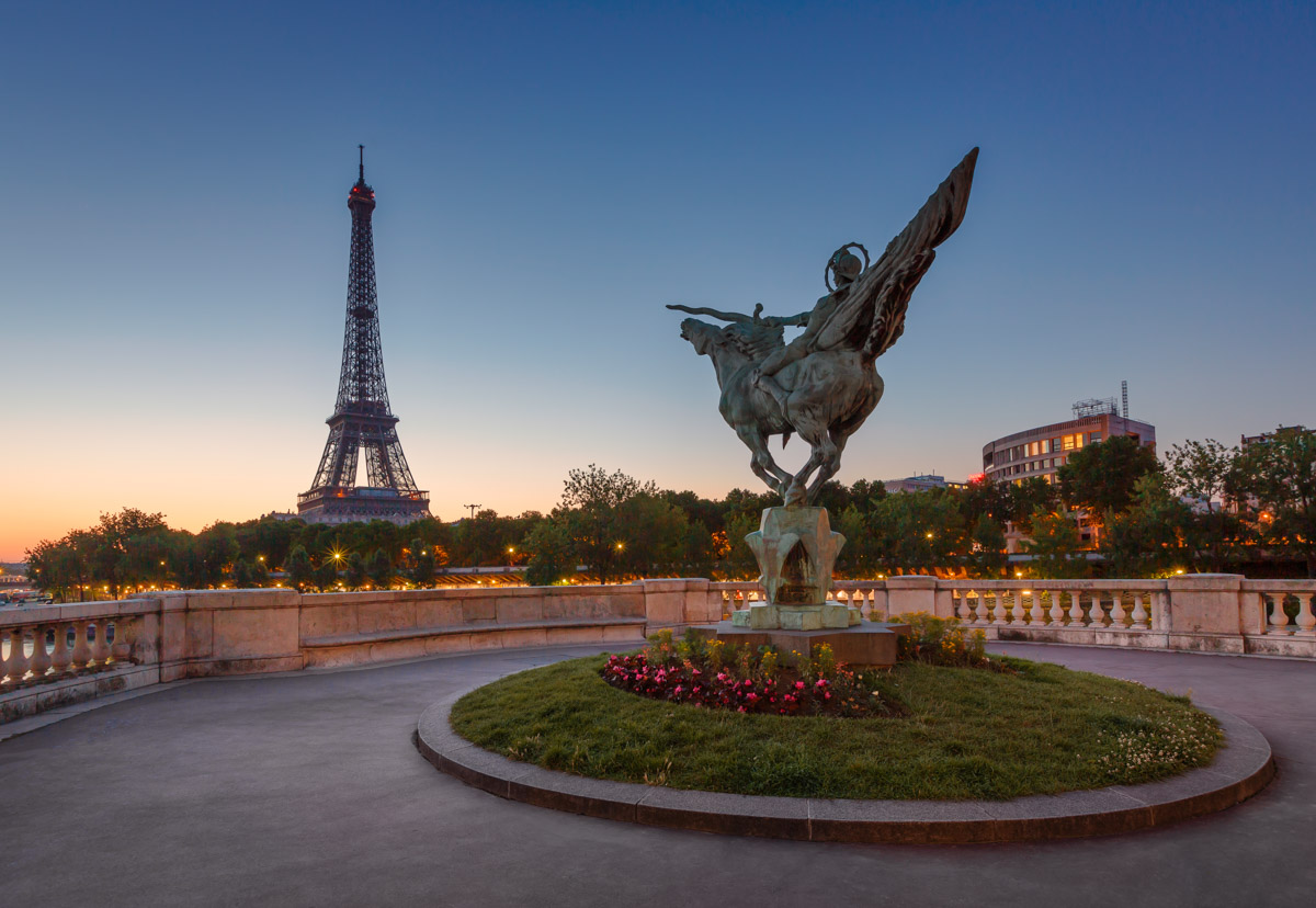 France Reborn Statue on Bir-Hakeim Bridge, Paris, France