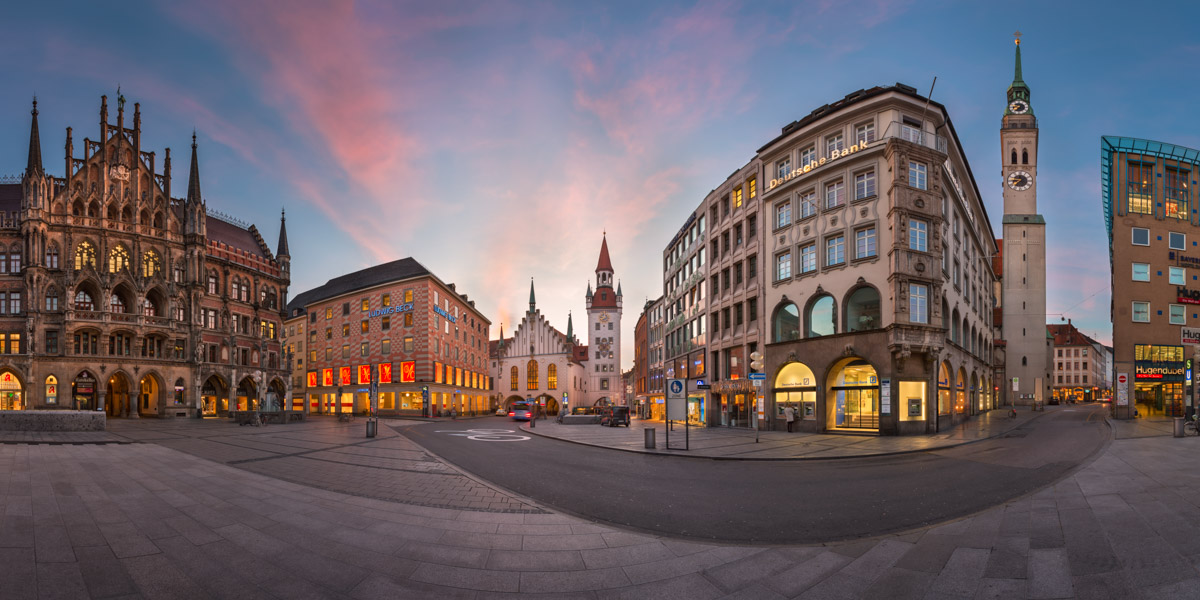 Panorama of Marienplatz, Munich, Germany