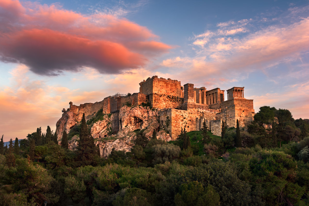 Acropolis from Areopagus Hill, Athens, Greece