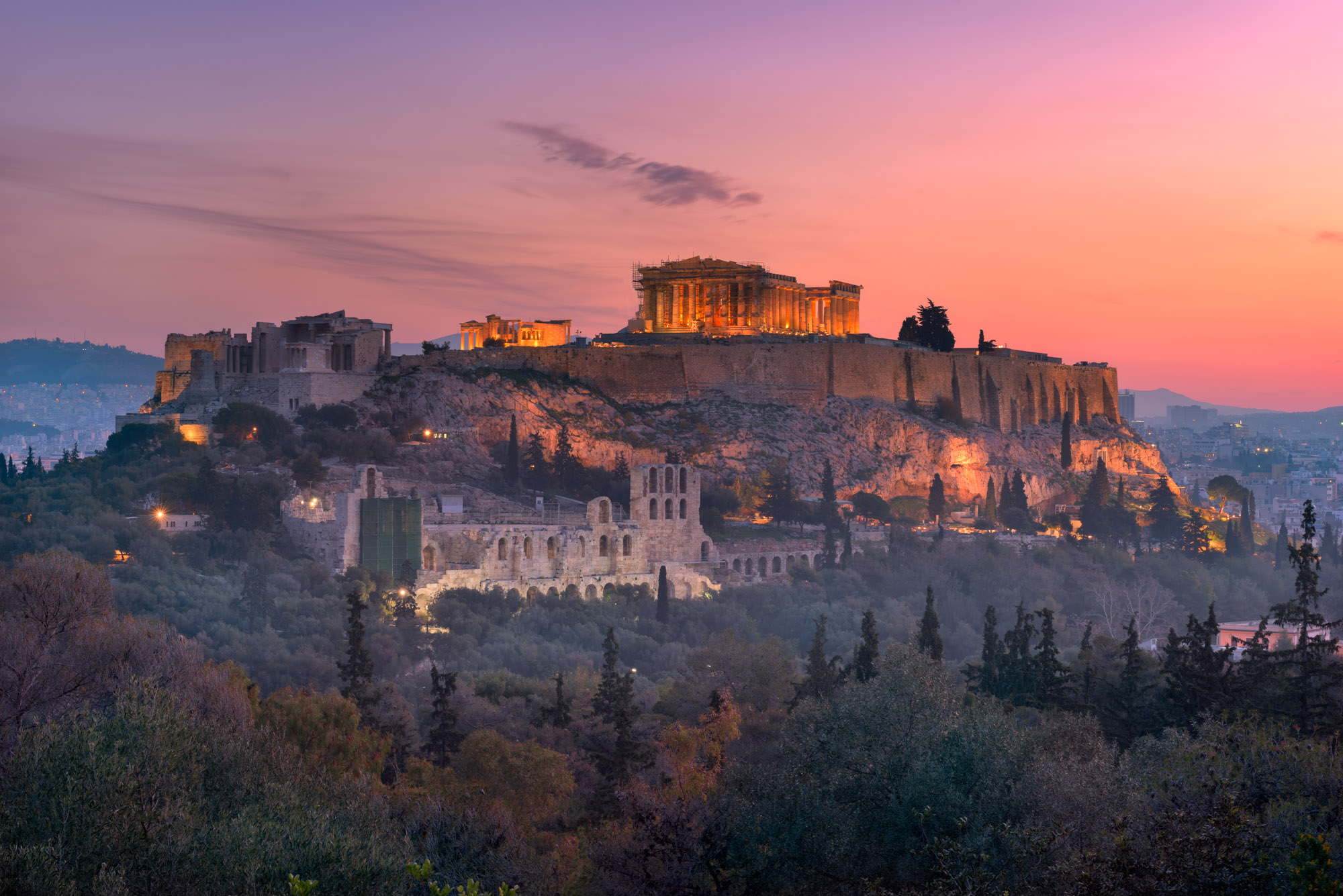 Acropolis from the Philopappos Hill, Athens, Greece