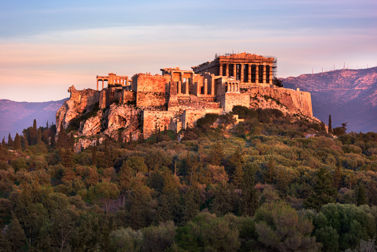 Acropolis from the Pnyx Hill, Athens, Greece