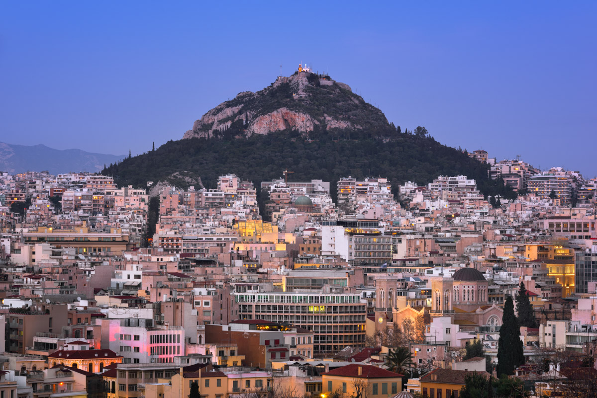 Athens and Mount Lycabettus, Athens, Greece