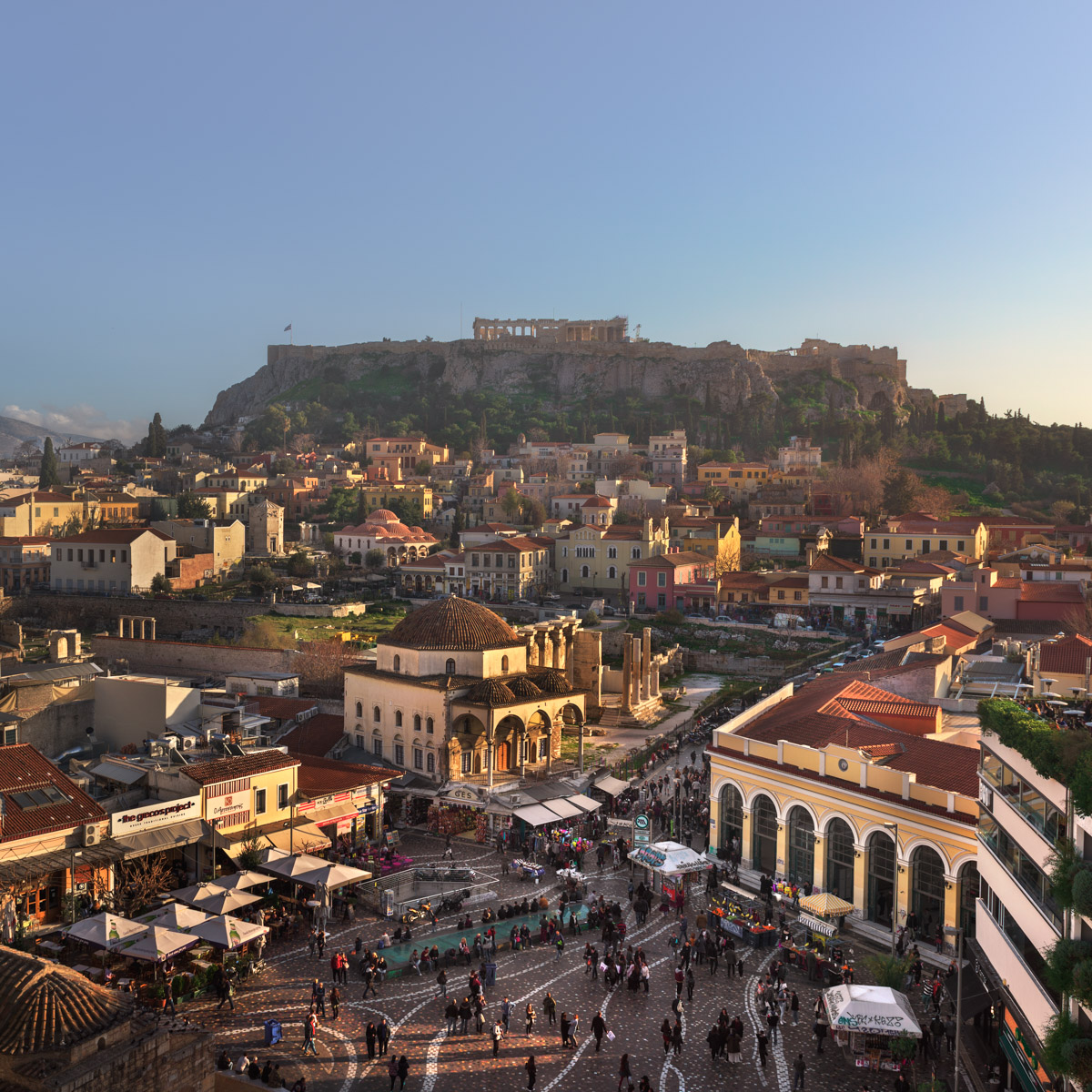 Monastiraki Square and Acropolis, Athens, Greece
