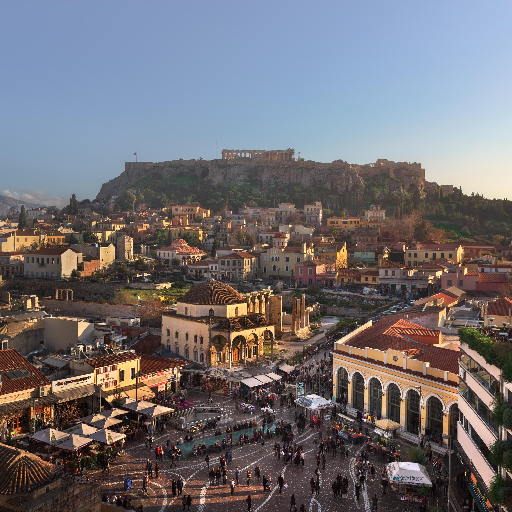 Monastiraki Square and Acropolis, Athens, Greece