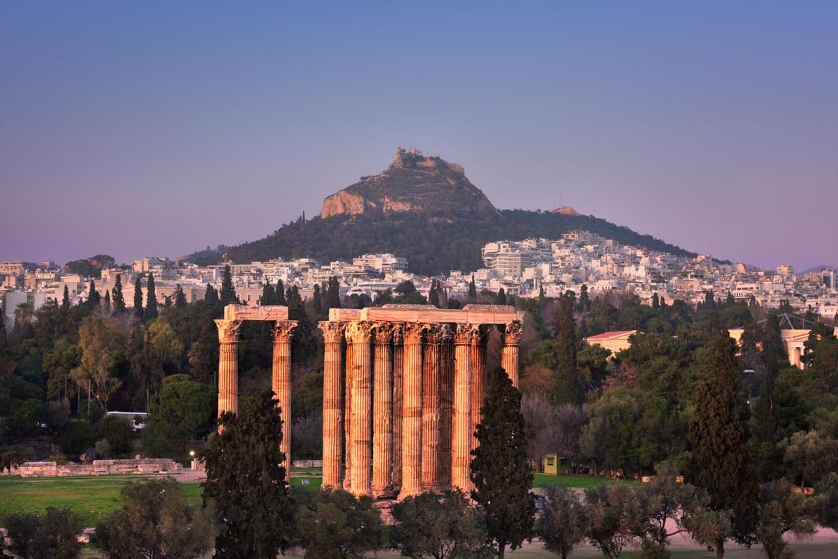 Temple of Olympian Zeus and Mount Lycabettus, Athens, Greece