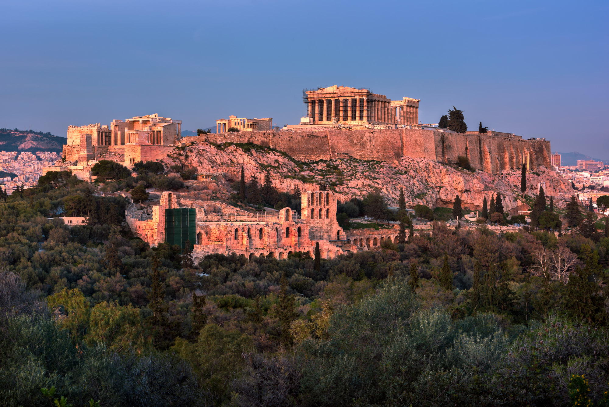 View of Acropolis from the Philopappos Hill, Athens, Greece